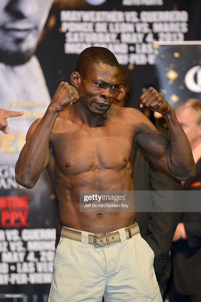 Boxer Michael Gbenga poses during the official weigh-in for his light heavyweight bout against Badou Jack at the MGM Grand Garden Arena on May 3, 2013 in Las Vegas, Nevada.
