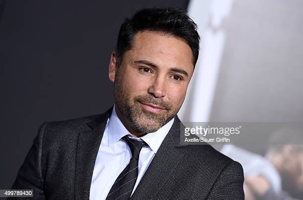 Boxer Oscar De La Hoya arrives at the premiere of Warner Bros Pictures' 'Creed' at Regency Village Theatre on November 19 2015 in Westwood California