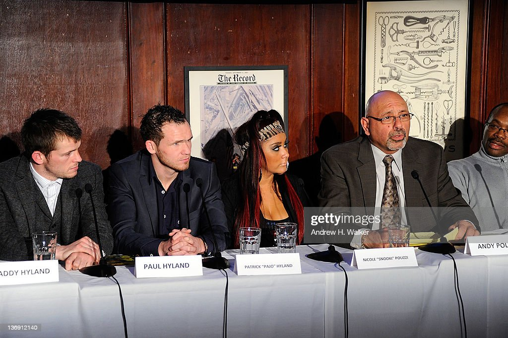 Boxer Patrick Hyland, boxer Paul Hyland, Nicole 'Snooki' Polizzi and Andy Polizzi attend the Team Snooki Boxing press conference at McFadden's Saloon on January 12, 2012 in New York City.