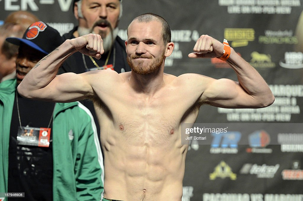 Boxer Patrick Hyland poses during the official weigh-in for his WBA interim featherweight title bout against Javier Fortuna at the MGM Grand Garden Arena on December 7, 2012 in Las Vegas, Nevada.