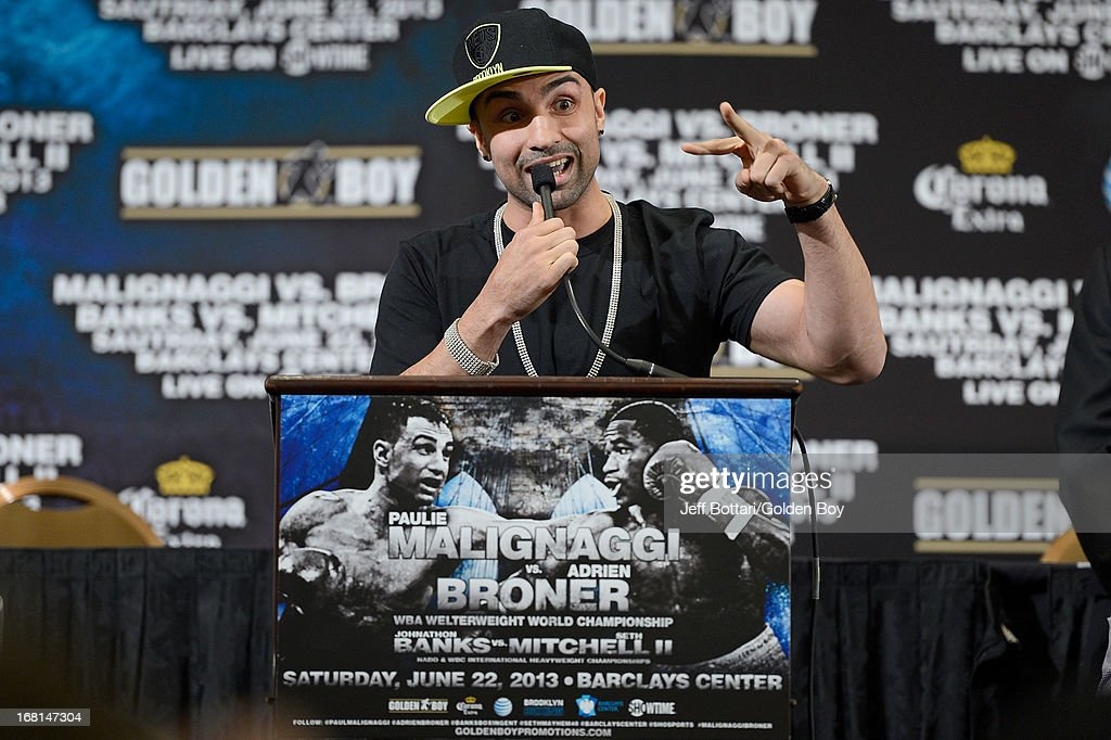 Boxer Paulie Malignaggi talks to the media about his upcoming fight with Adrien Broner during their news conference before the Floyd Mayweather Jr. and Robert Guerrero fight at the MGM Grand Garden Arena on May 4, 2013 in Las Vegas, Nevada.