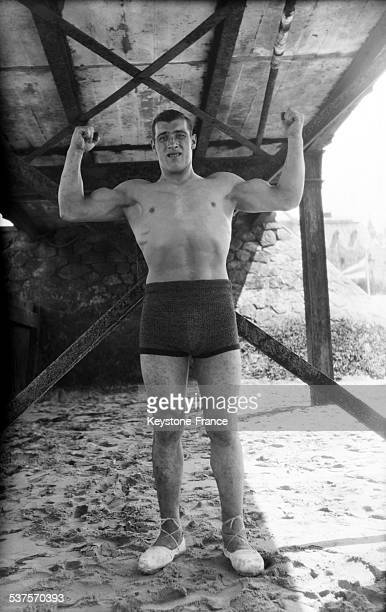 Boxer Primo Carnera training on the beach in January 1929 in United States