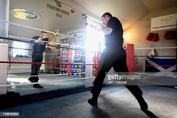 Boxer Ricky Burns trains at Scots gym ahead of his Interim WBO lightweight title fight against Michael Katsidis of Australia on November 5 at Wembley...