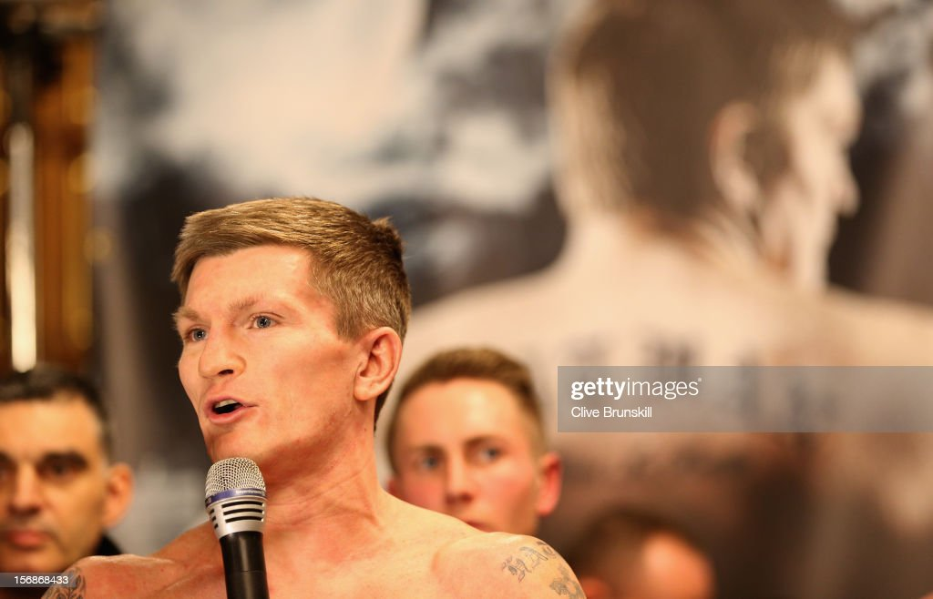 Boxer <a gi-track='captionPersonalityLinkClicked' href=/galleries/search?phrase=Ricky+Hatton&family=editorial&specificpeople=208674 ng-click='$event.stopPropagation()'>Ricky Hatton</a> addresses his fans after his weigh in prior to his bout with Vyacheslav Senchenko at at the Manchester Town Hall on November 23, 2012 in Manchester, England. Hatton has his comeback fight against Vyacheslav Senchenko on November 24th.