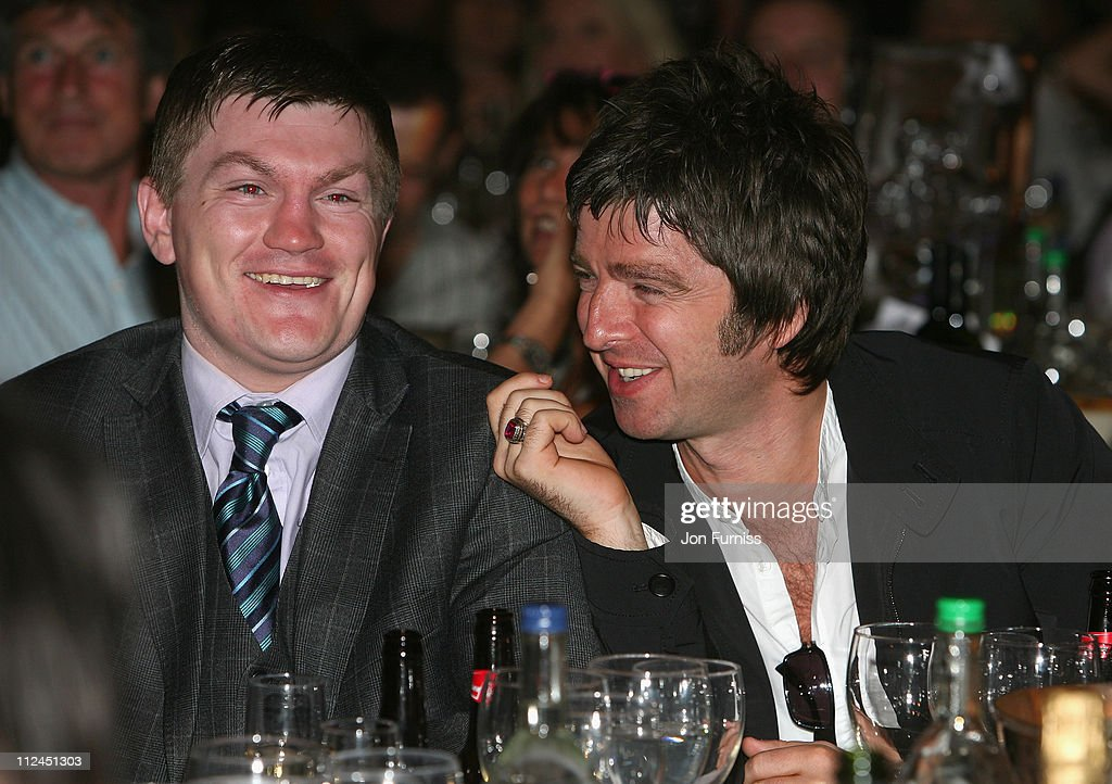Boxer <a gi-track='captionPersonalityLinkClicked' href=/galleries/search?phrase=Ricky+Hatton&family=editorial&specificpeople=208674 ng-click='$event.stopPropagation()'>Ricky Hatton</a> and Musician <a gi-track='captionPersonalityLinkClicked' href=/galleries/search?phrase=Noel+Gallagher&family=editorial&specificpeople=209146 ng-click='$event.stopPropagation()'>Noel Gallagher</a> during the O2 Silver Clef Awards held at the Park Lane Hilton Hotel on July 4, 2008 in London, England.