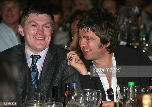 Boxer Ricky Hatton and Musician Noel Gallagher during the O2 Silver Clef Awards held at the Park Lane Hilton Hotel on July 4 2008 in London England