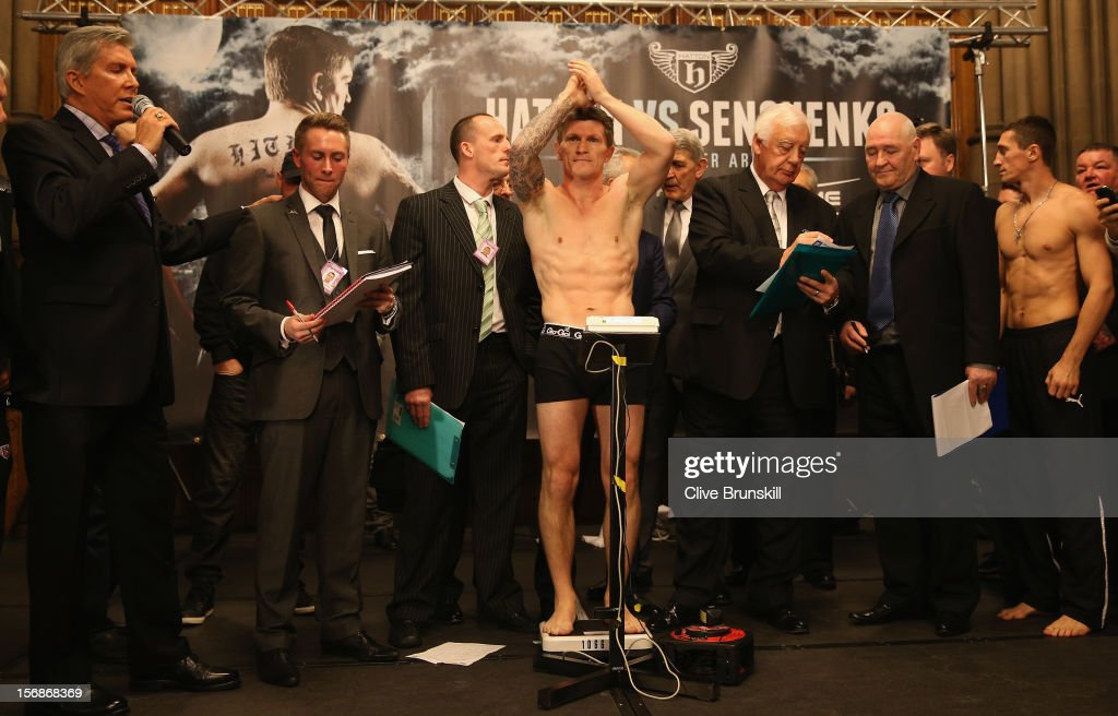 Boxer <a gi-track='captionPersonalityLinkClicked' href=/galleries/search?phrase=Ricky+Hatton&family=editorial&specificpeople=208674 ng-click='$event.stopPropagation()'>Ricky Hatton</a> applauds his fans as he weighs in prior to his bout with Vyacheslav Senchenko at at the Manchester Town Hall on November 23, 2012 in Manchester, England. Hatton has his comeback fight against Vyacheslav Senchenko on November 24th.