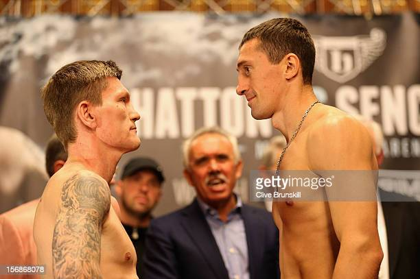 Boxer Ricky Hatton goes head to head prior to his bout with Vyacheslav Senchenko at at the Manchester Town Hall on November 23 2012 in Manchester...
