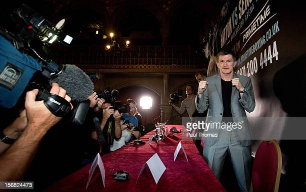 Boxer Ricky Hatton poses for a photograph after a press conference at the Manchester Town Hall on November 22 2012 in Manchester England Hatton has...