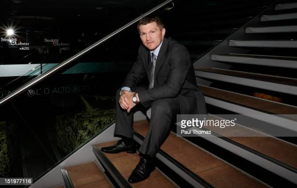 Boxer Ricky Hatton poses for a photograph during a press conference at the Radisson Blu Edwardian Hotel on September 14 2012 in Manchester England...