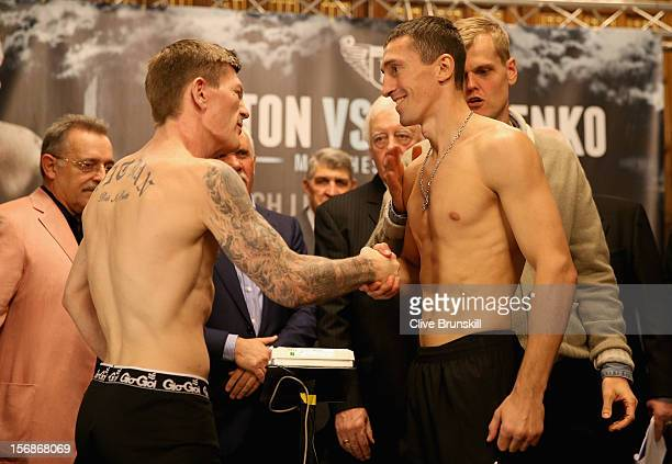 Boxer Ricky Hatton shakes hands prior to his bout with Vyacheslav Senchenko at at the Manchester Town Hall on November 23 2012 in Manchester England...