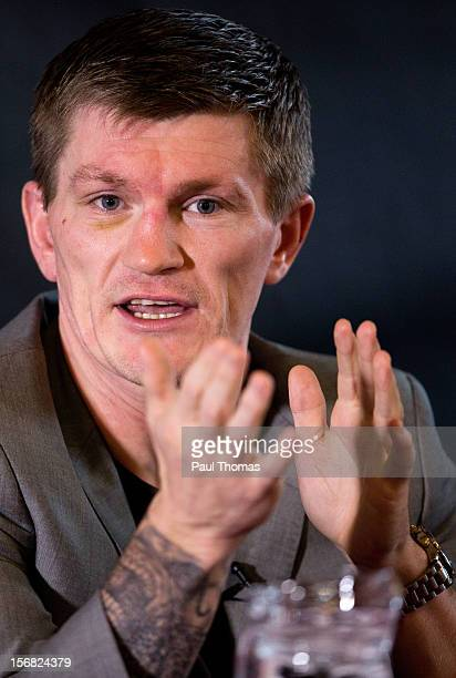 Boxer Ricky Hatton speaks during a media interview at the Manchester Town Hall on November 22 2012 in Manchester England Hatton has his comeback...