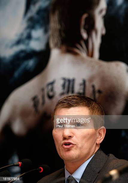 Boxer Ricky Hatton speaks during a press conference at the Radisson Blu Edwardian Hotel on September 14 2012 in Manchester England Hatton today...