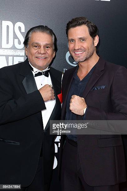 Boxer Roberto Duran and Actor Edgar Ramirez attend The Weinstein Company Presents the US Premiere of 'Hands of Stone' at SVA Theater on August 22...