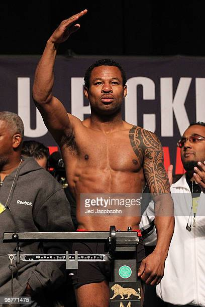 Boxer Shane Mosley steps on the scale to weigh 147 pounds during the weighin for his bout against Floyd Mayweather Jr at the MGM Grand Garden Arena...