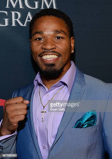 Boxer Shawn Porter arrives at the VIP PreFight Party for 'High Stakes Mayweather v Berto' presented by Showtime at MGM Grand Garden Arena on...