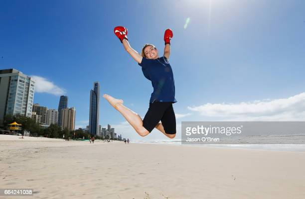 Boxer Skye Nicholson poses for a photo during the 2018 Commonwealth Games One Year To Go ceremony at Broadbeach on April 4 2017 in Gold Coast...