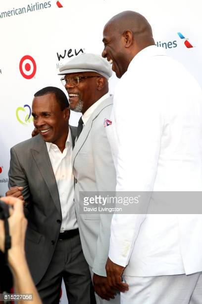 Boxer Sugar Ray Leonard actor Samuel L Jackson and former NBA player Magic Johnson attend the 19th Annual DesignCare 2017 at Private Residence on...