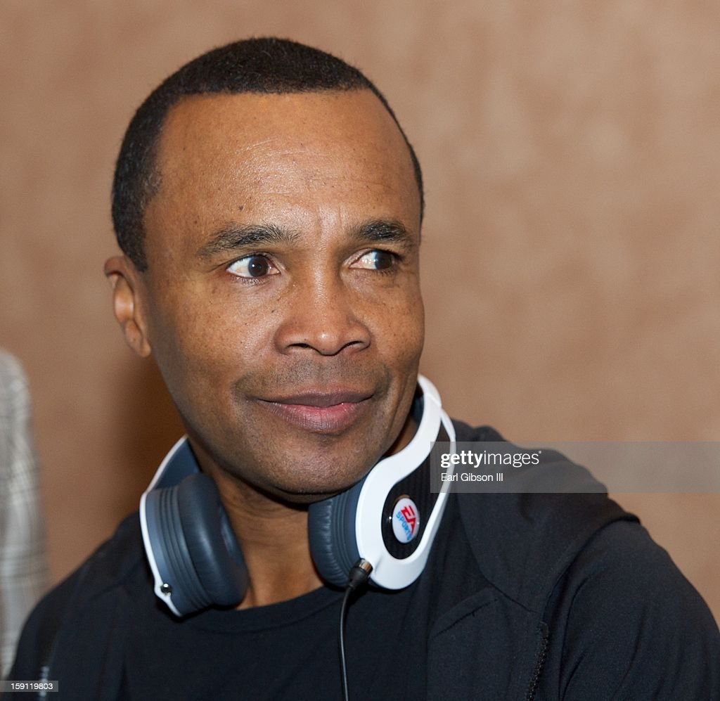 Boxer Sugar Ray Leonard shows off the latest in Monster headphones at the Monster Press Conference at the Mandalay Bay Convention Center on January 7, 2013 in Las Vegas, Nevada.