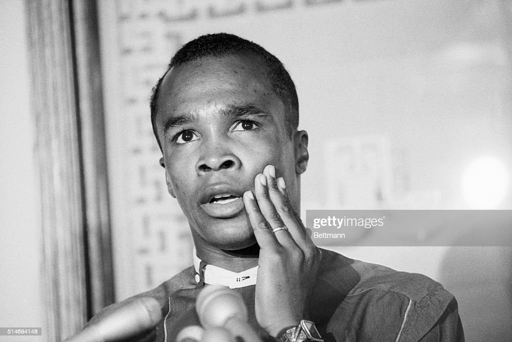 Boxer Sugar Ray Leonard talks about a possible fight with middleweight champion Marvin Hagler during a press conference July 9 1986