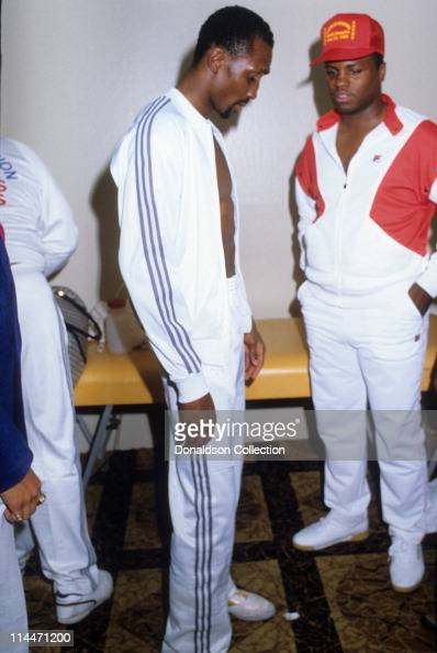 Boxer Thomas 'Hitman' Hearns at boxing match on March 10 1986 in Caesars Palace Las Vegas Nevada