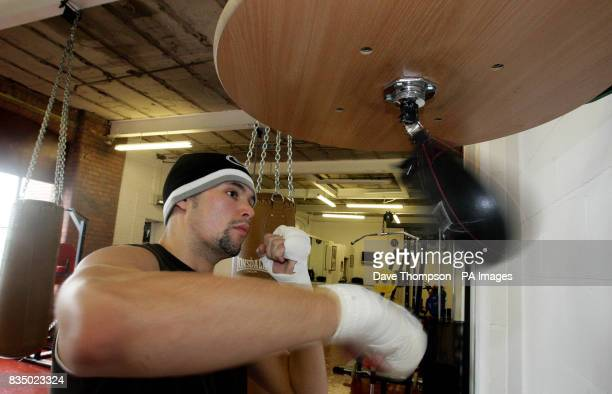 Boxer Tony Bellew during a training session at Former WBU Middleweight Champion Anthony Farnell's Arnies Gym in Manchester