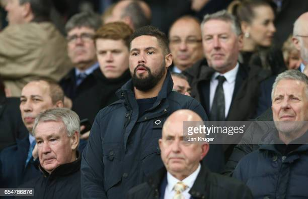 Boxer Tony Bellew looks on from stand prior to the Premier League match between Everton and Hull City at Goodison Park on March 18 2017 in Liverpool...