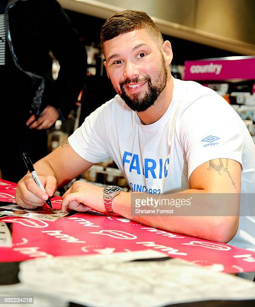 Boxer Tony Bellew meets fans and signs copies of his new film 'Creed' at HMV on May 18 2016 in Liverpool England