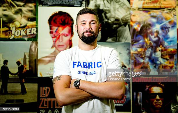 Boxer Tony Bellew poses backstage after meeting fans and signing copies of his new film 'Creed' at HMV on May 18 2016 in Liverpool England