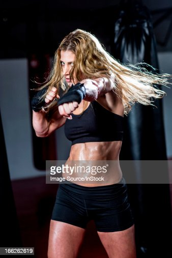 Boxer training in gym
