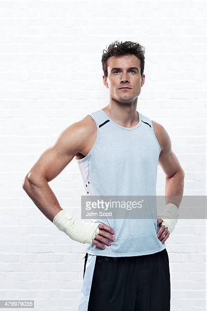Boxer training without gloves, hero portrait
