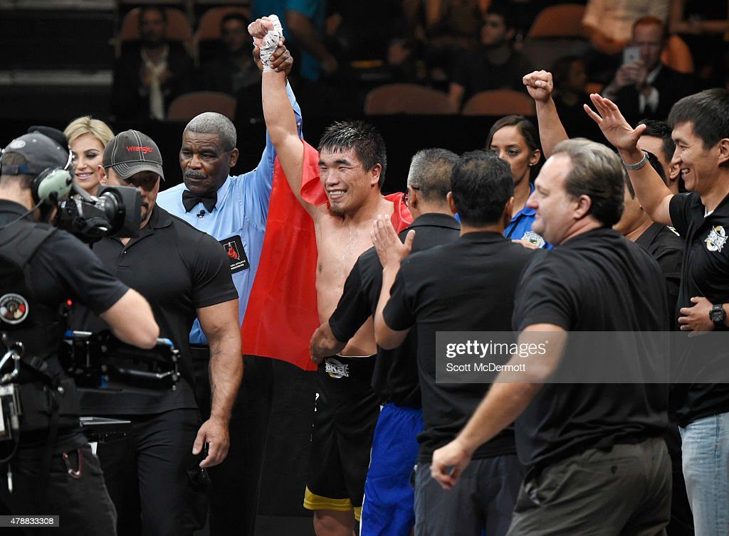 Boxer Urmat Ryskeldiev celebrates his win by unanimous decision in the junior middleweight match against Marcus Willis during BKB 3, Big Knockout Boxing, at the Mandalay Bay Events Center on on June 27, 2015 in Las Vegas, Nevada.