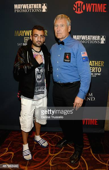 Boxer Vanes Martirosyan and boxing referee Jay Nady attend the VIP PreFight Party for 'High Stakes Mayweather v Berto' presented by Showtime at MGM...