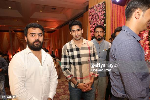 Boxer Vijender Singh during the wedding reception of INLD MP Dushyant Chautala with Meghna Ahlawat at Ashoka Hotel on April 20 2017 in New Delhi...