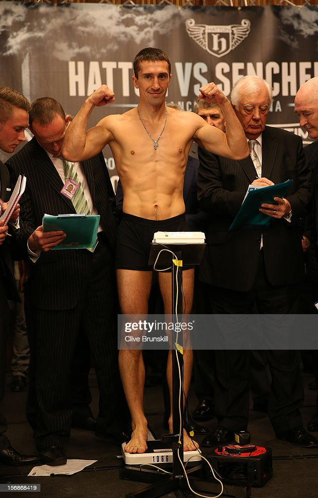 Boxer Vyacheslav Senchenko weighs in prior to his bout with Ricky Hatton at at the Manchester Town Hall on November 23, 2012 in Manchester, England. Hatton has his comeback fight against Vyacheslav Senchenko on November 24th.