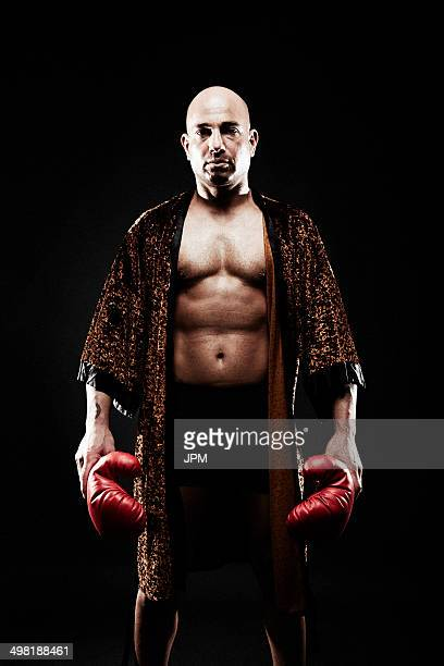 Boxer wearing dressing gown