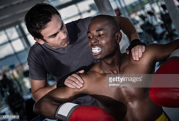 Boxer with his coach