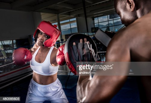 Boxer with the trainer