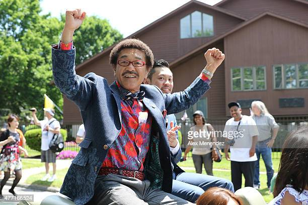 Boxer Yoko Gushiken is seen celebrating during the parade at the International Boxing Hall of Fame induction Weekend of Champions events on June 14...