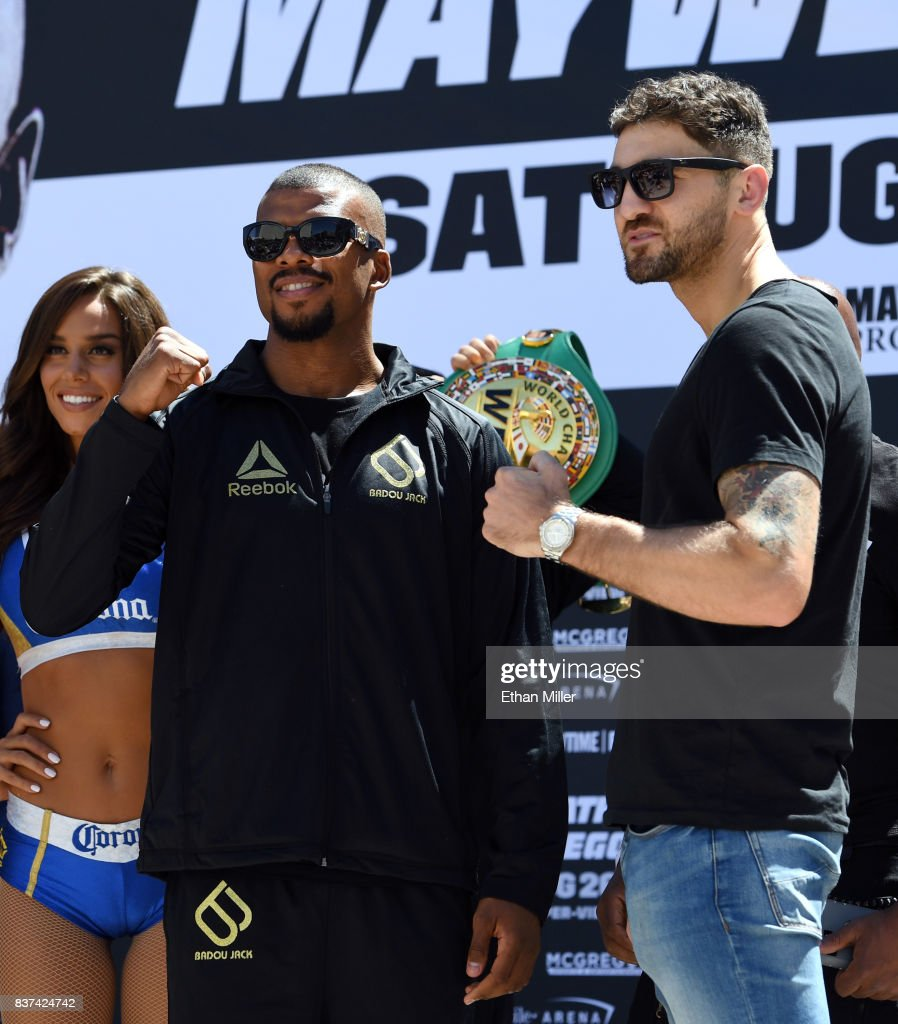 Boxers Badou Jack (L) and WBA light heavyweight champion Nathan Cleverly pose after arriving at Toshiba Plaza on August 22, 2017 in Las Vegas, Nevada. Cleverly will defend his title against Jack at T-Mobile Arena on August 26 in Las Vegas.