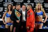 Boxers Daniel Ponce De Leon and Abner Mares face off during their final news conference for their bout at the MGM Grand Hotel/Casino on May 2 2013 in...