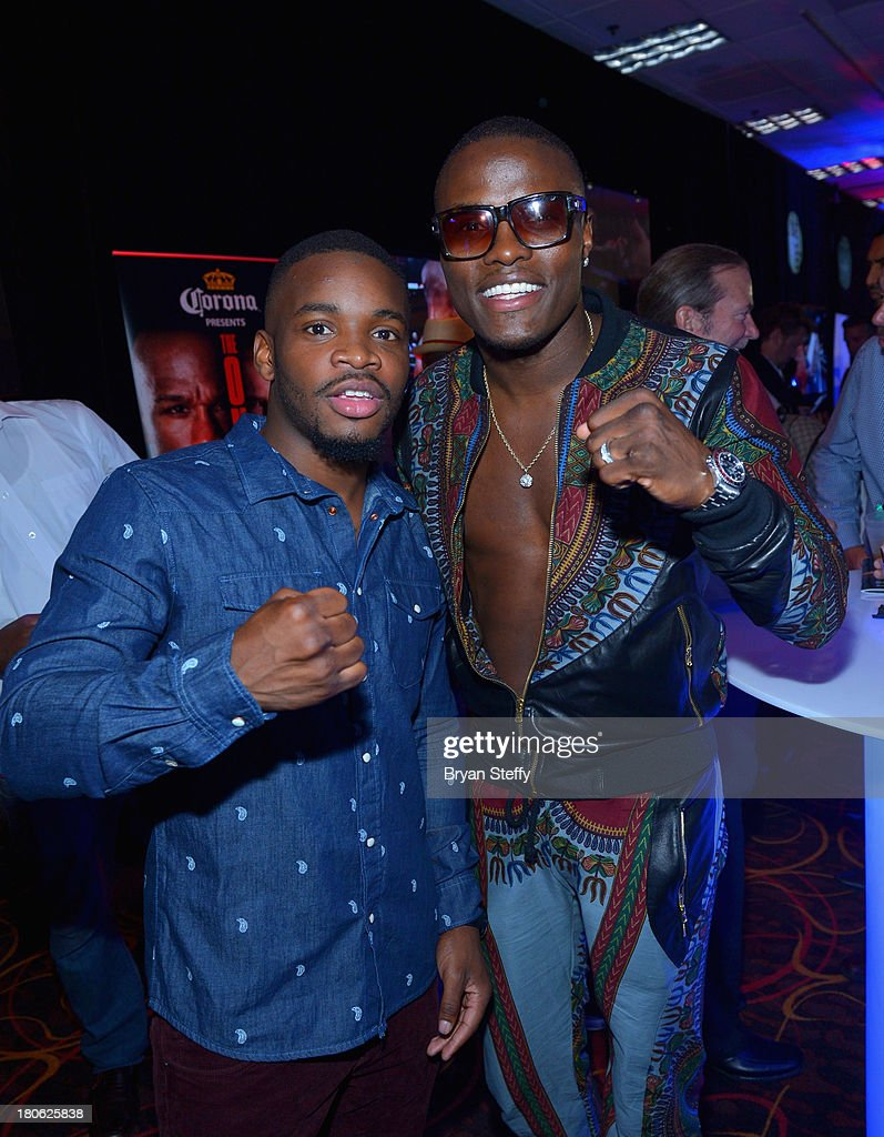 Boxers Eddie Gomez (L) and Peter 'Petey' Quillin attend the VIP pre-fight party at the Floyd Mayweather Jr. vs. Canelo Alvarez boxing match at the MGM Grand Garden Arena on September 14, 2013 in Las Vegas, Nevada.