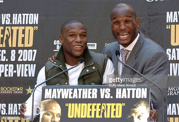Boxers Floyd Mayweather and Bernard Hopkins attend the press conference announcing the upcoming December 8 2007 Floyd Mayweather vs Ricky Hatton...