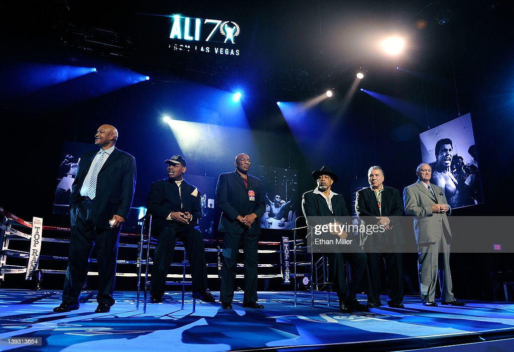 Boxers <a gi-track='captionPersonalityLinkClicked' href=/galleries/search?phrase=George+Foreman&family=editorial&specificpeople=217772 ng-click='$event.stopPropagation()'>George Foreman</a>, <a gi-track='captionPersonalityLinkClicked' href=/galleries/search?phrase=Leon+Spinks&family=editorial&specificpeople=752908 ng-click='$event.stopPropagation()'>Leon Spinks</a>, Earnie Shavers, Ken Norton, George Chuvalo and Chuck Wepner appear onstage at the Keep Memory Alive foundation's 'Power of Love Gala' celebrating Muhammad Ali's 70th birthday at the MGM Grand Garden Arena February 18, 2012 in Las Vegas, Nevada. The event benefits the Cleveland Clinic Lou Ruvo Center for Brain Health and the Muhammad Ali Center.