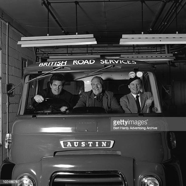 Boxers in the cab of an Austin lorry at the BMC in Holland Park London 12th February 1963 They are Bombardier Billy Wells Harry 'Kid' Berry and...