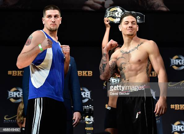 Boxers Joey Montoya and Anthony Johnson face off during the BKB 2 weighin at the Mandalay Bay Events Center on April 3 2015 in Las Vegas Nevada The...