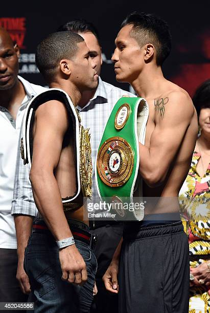 Boxers Juan Manuel Lopez and Francisco Vargas face off during their official weighin at the MGM Grand Garden Arena on July 11 2014 in Las Vegas...