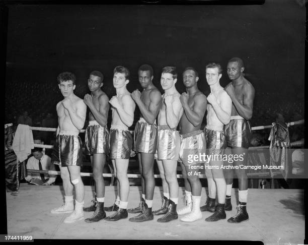 Boxers lined up in boxing ring Pittsburgh Pennsylvania c 1955