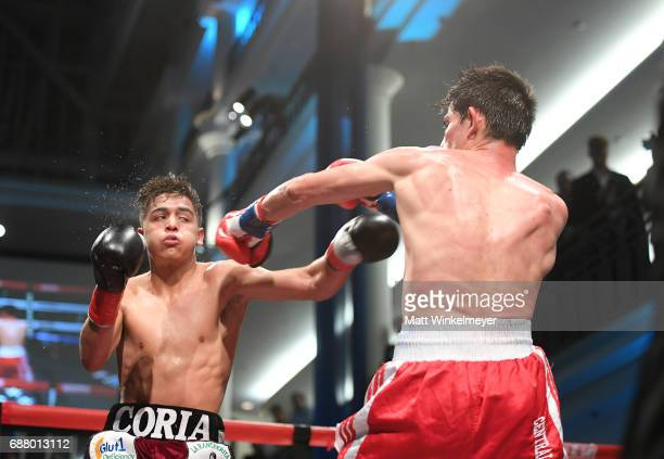 Boxers Luis Coria and Antonio Martinez attend the B Riley Co 8th Annual 'Big Fighters Big Cause' Charity Boxing Night benefiting the Sugar Ray...