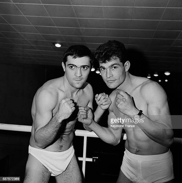 Boxers Marcel Cerdan and Scheid posed together before the match on December 13 1964 in Neuilly on Seine France